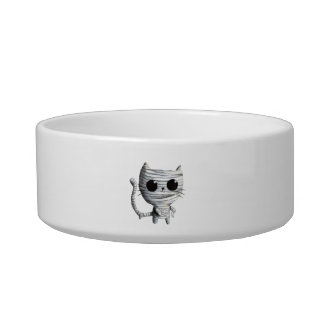 Cute Halloween Mummy Cat Bowl