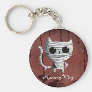 Cute Halloween Mummy Cat Basic Round Button Keychain
