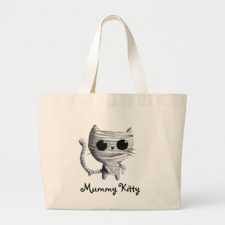 Cute Halloween Mummy Cat Large Tote Bag
