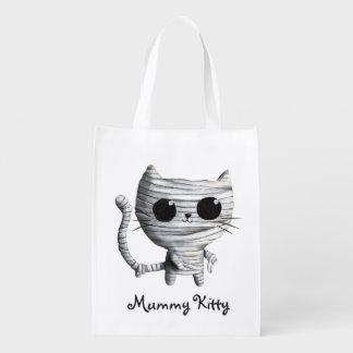 Cute Halloween Mummy Cat Reusable Grocery Bag