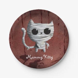 Cute Halloween Mummy Cat 7 Inch Paper Plate