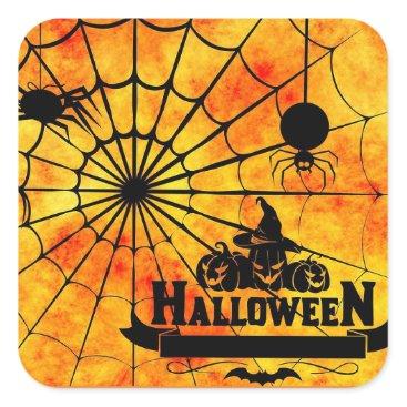 Halloween Themed Cute Halloween Orange Spider Web Stickers