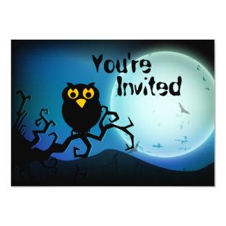 Cute Halloween Owl Birthday Invitation
