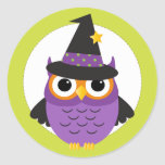 Cute Halloween Owl Circle Stickers