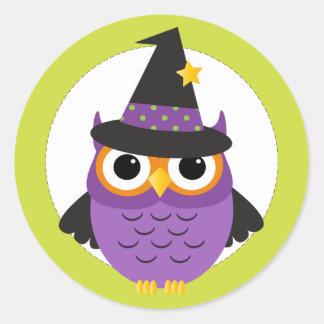 Cute Halloween Owl Circle Stickers