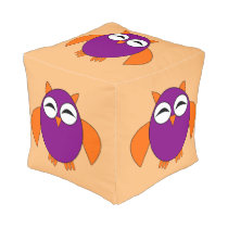 Cute Halloween Owl Cube Pouf