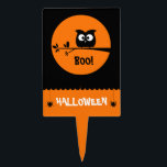 """Cute Halloween Owl   customised background colours Cake Topper<br><div class=""""desc"""">Boo!</div>"""