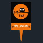 "Cute Halloween Owl   customised background colours Cake Topper<br><div class=""desc"">Boo!</div>"