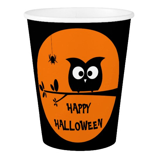 Cute Halloween Owl Customised Background Colours Paper Cup