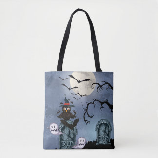 Cute Halloween Owl, Ghosts & Bats Tote Bag
