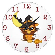 Cute Halloween Owl Kid's wall-clock