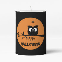 Cute Halloween Owl Pillar Candle