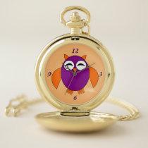 Cute Halloween Owl Pocket Watch
