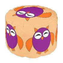 Cute Halloween Owl Round Pouf