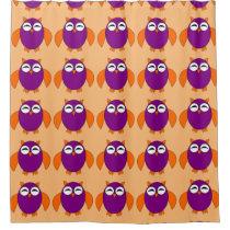 Cute Halloween Owl Shower Curtain