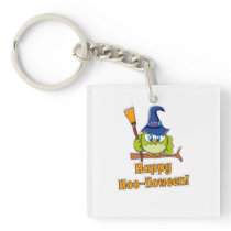 Cute Halloween Owl Witch square Keychain