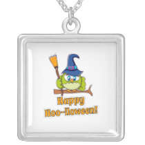 Cute Halloween Owl Witch square Silver Plated Necklace