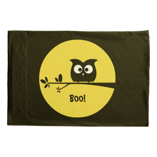 Cute Halloween Owl With Customised Moon Colours Pillow Case