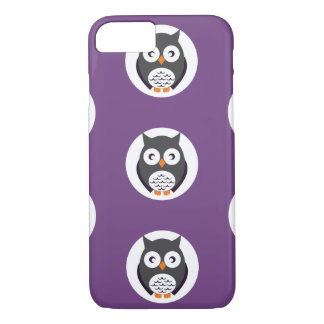 Cute Halloween owls on purple background iPhone 7 Case