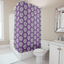 Cute Halloween owls on purple background Shower Curtain