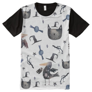 Cute Halloween Painted Patterns (Customizeable BG) All-Over-Print Shirt