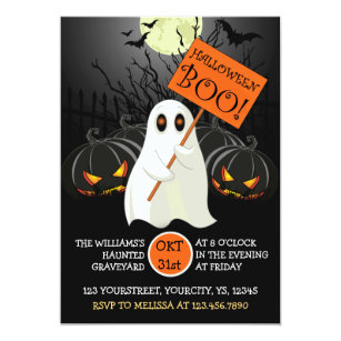 Exceptionnel Cute Halloween Party Invitation With Ghost And Bat