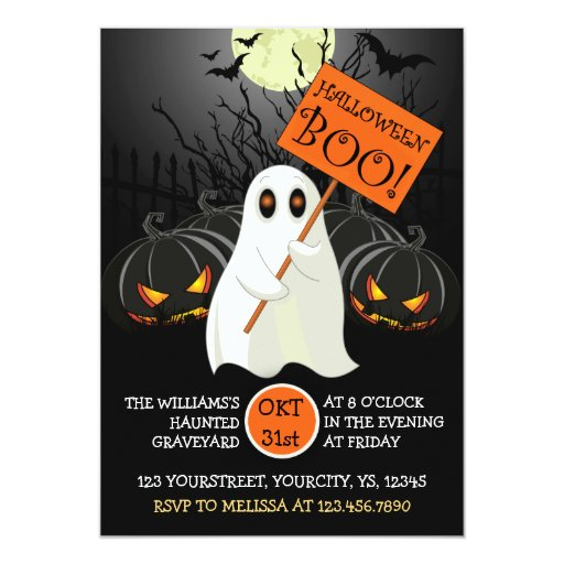 Cute Halloween party invitation with ghost and bat   Zazzle