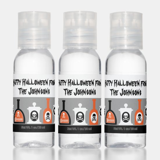 Cute Halloween Party Skull and Crossbones Poison Hand Sanitizer