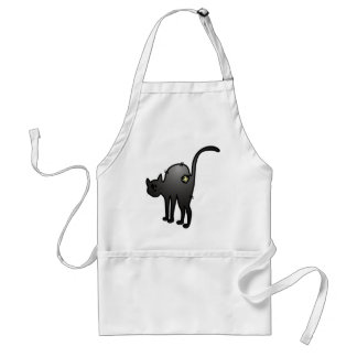 CUTE HALLOWEEN PATCHY CAT - BLACK KITTY ADULT APRON