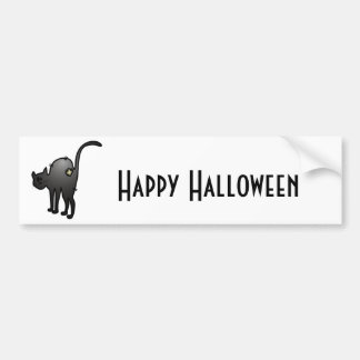 CUTE HALLOWEEN PATCHY CAT - BLACK KITTY BUMPER STICKER