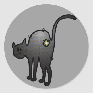 CUTE HALLOWEEN PATCHY CAT - BLACK KITTY CLASSIC ROUND STICKER