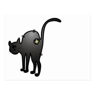 CUTE HALLOWEEN PATCHY CAT - BLACK KITTY POSTCARD