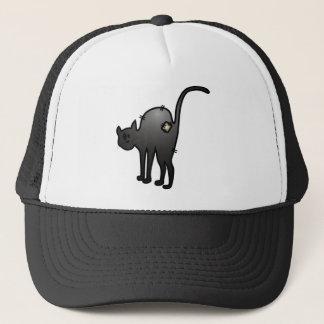 CUTE HALLOWEEN PATCHY CAT - BLACK KITTY TRUCKER HAT
