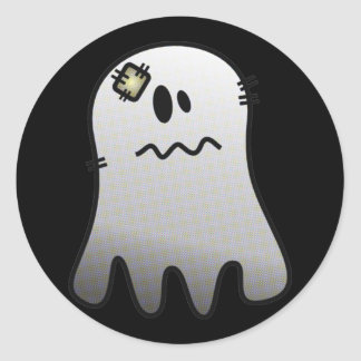 CUTE HALLOWEEN PATCHY GHOST CLASSIC ROUND STICKER