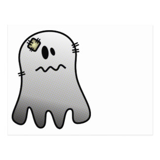 CUTE HALLOWEEN PATCHY GHOST POSTCARD