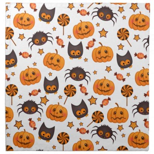 Cute halloween pattern illustration cloth napkins zazzle for Halloween cloth napkins