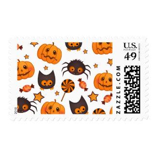 Cute Halloween Pattern Illustration Postage Stamp