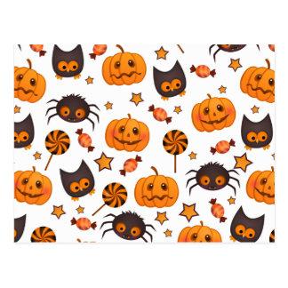 Cute Halloween Pattern Illustration Post Card