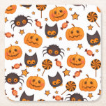 """Cute Halloween Pattern Illustration Square Paper Coaster<br><div class=""""desc"""">Super cute halloween pattern. In this illustration you can see pumpkins,  spiders,  owls,  stars and candy. Color scheme of this halloween design is orange,  black and white.</div>"""