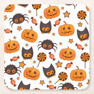 Cute Halloween Pattern Illustration Square Paper Coaster
