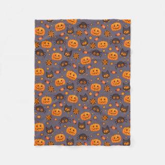 Cute Halloween Pattern Purple Background Fleece Blanket