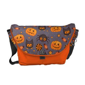 Cute Halloween Pattern Purple Background Messenger Bag
