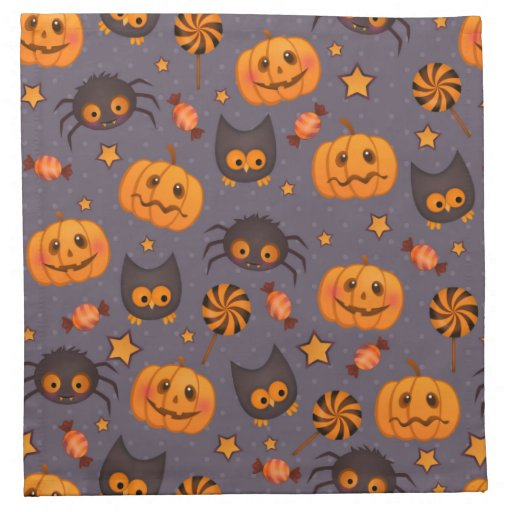 Cute halloween pattern purple background napkin zazzle for Halloween cloth napkins