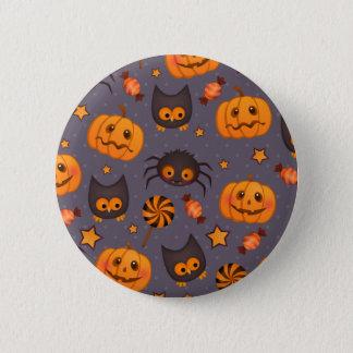 Cute Halloween Pattern Purple Background Pinback Button