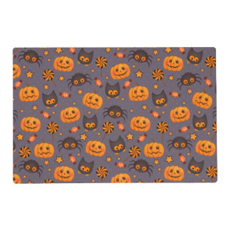 Cute Halloween Pattern Purple Background Placemat