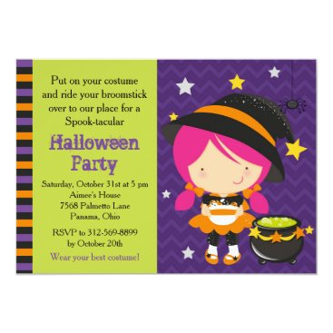 Halloween Themed Cute Halloween Pink Haired Witch Party Card
