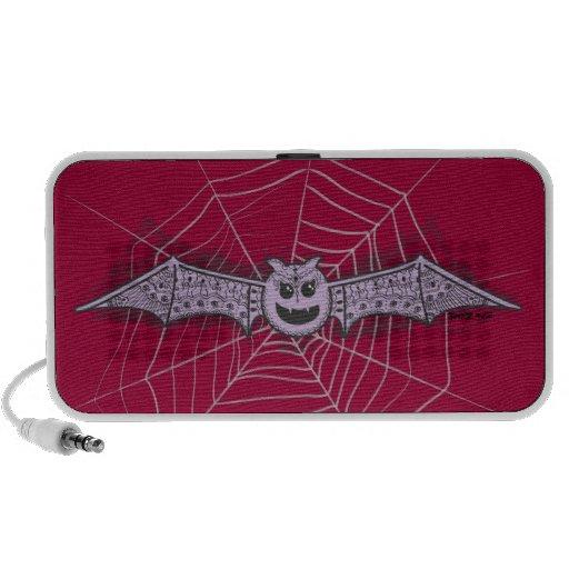 Cute Halloween Princess Bat with Henna Designs Portable Speaker