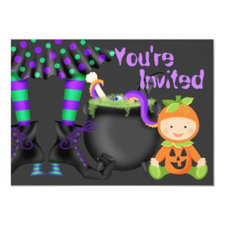 Cute Halloween Pumpkin Baby 1st Birthday Invite