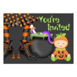 Cute Halloween Pumpkin Baby 1st Birthday Invite