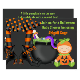 Halloween baby shower invitations announcements zazzle cute halloween pumpkin baby shower neutral invite filmwisefo